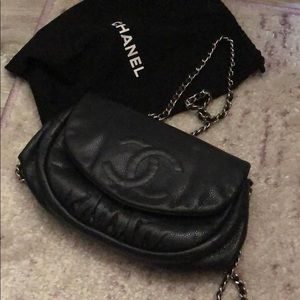 Chanel half moon wallet on a chain
